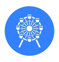 Ferris wheel icon black Single building icon from vector