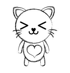 Figure happy cat cute feline animal vector