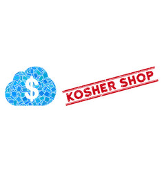 Financial cloud mosaic and scratched kosher shop vector