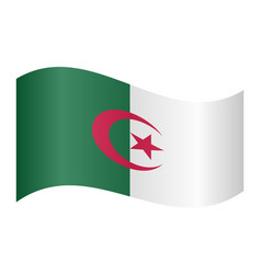 Flag of algeria waving on white background vector