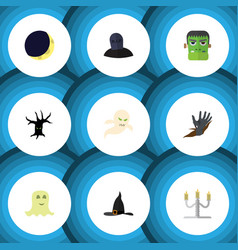 Flat icon festival set of zombie terrible vector