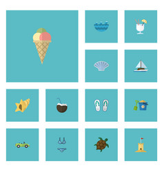 Flat icons shell sea conch and other vector