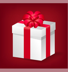 gift with red ribbon and bow present icon vector image