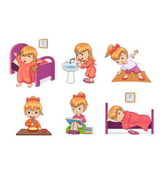 Girl daily routine collection vector