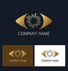 Gold eye optic company logo vector