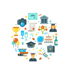 graduation day and learning concept with vector image