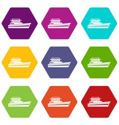 Great powerboat icon set color hexahedron vector