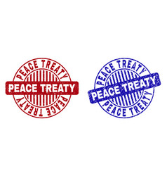 Grunge peace treaty textured round stamps vector