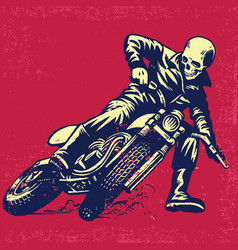 hand drawing skull riding a vintage motorcycle vector image