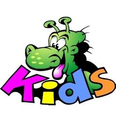 hand-drawn an dinosaur logo for kids vector image
