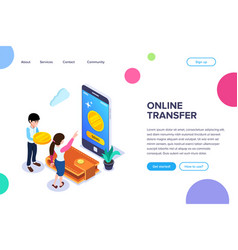 isometric online transfer concept vector image
