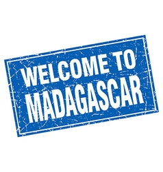 Madagascar blue square grunge welcome to stamp vector