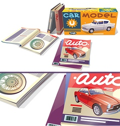 Magazines Books and the Car Model vector image