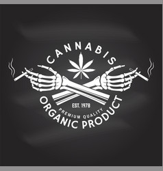 medical cannabis badge label with skeleton hand vector image