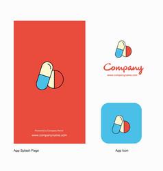 medicine company logo app icon and splash page vector image