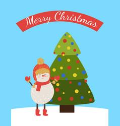merry christmas postcard with cartoon snowman vector image