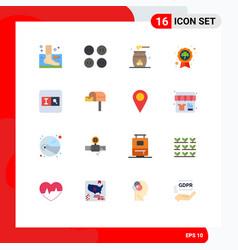 Modern set 16 flat colors pictograph badge vector