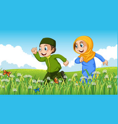 Nature scene background with muslim boy and girl vector