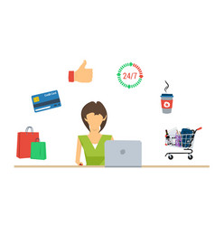 online shopping for woman - concept vector image