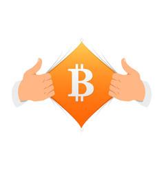 Opening shirt bitcoin vector