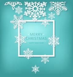 Paper snowflakes on blue background holiday vector