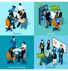 People On Work Isometric Icon Set vector image