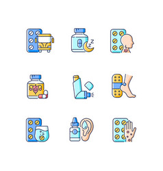 Pharmaceutical drugs rgb color icons set vector