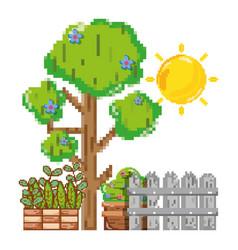 Pixelated garden scenery vector