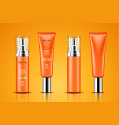 realistic tube with sunscreen cream vector image