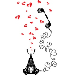 Retro telephone and hearts in vintage style vector image