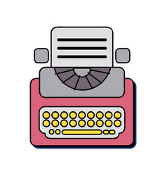 retro typewriter equipment with business document vector image