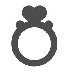 Ring with heart shaped gemstone solid icon vector