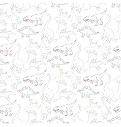 seamless pattern with dinosaur outline vector image