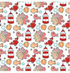 seamless pattern with sea characters and plants vector image