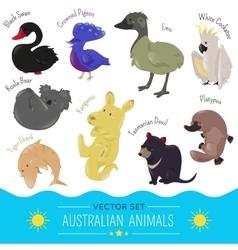 set cute cartoon australian animal icon vector image