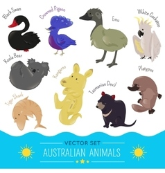 Set of cute cartoon australian animal icon vector