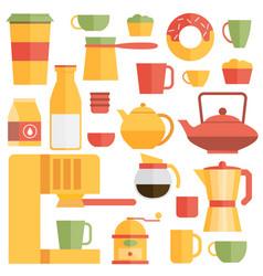 Set of flat cafe design elements vector