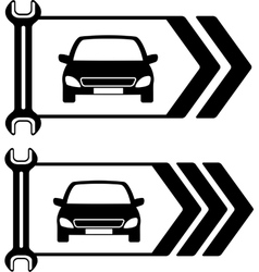 Set of road sign of car repair vector
