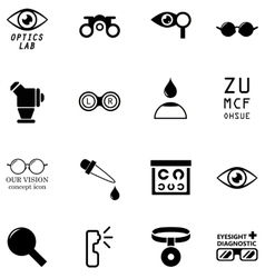 set optometry isolated icons vector image
