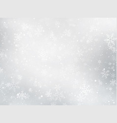 Silver winter christmas background with snowflakes vector
