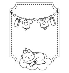 Square frame with basleeping in black and white vector