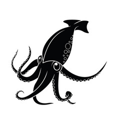 squid octopus and cuttlefish silhouette in icons vector image