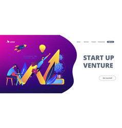 Start up launch concept landing page vector