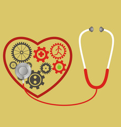 Stethoscope and heart consists of gears pulse vector