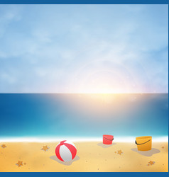 summer background on blue sky beach with sunny vector image