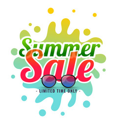 summer splash sale background with sunglasses vector image