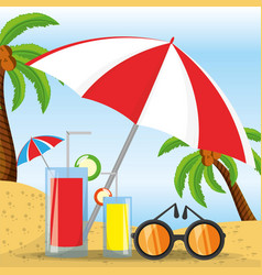 Summer umbrella sun glasses and cocktail over vector
