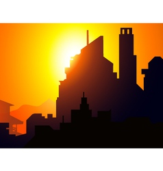 Sunset on City vector
