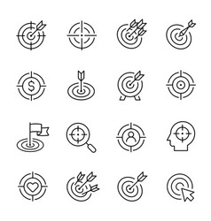 Targets line icons modern monochrome vector