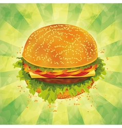 Tasty hamburger on grunge background vector image